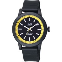 QQ Round Analog Black Leather Watch for Men