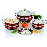 Mahavir Stainless Steel Cook & Serve Set Color (3 Pcs)