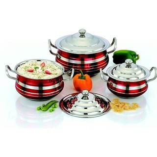 Mahavir Stainless Steel Cook  Serve Set Color (3 Pcs)
