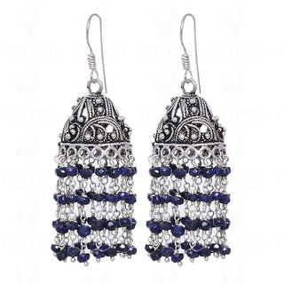 Blue Sapphire Gemstone Faceted Bead Earring