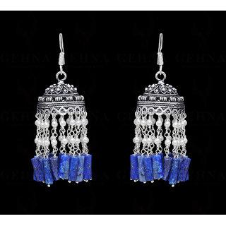 Pearl & Lapis Lazuli Gemstone Jumkies Style Earring In Silver