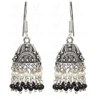 Pearl & Black Spinel Gemstone Bead Jhumki In .925 Silver Overlay