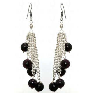 Red Garnet gemstone Studded Earring In.925 Silver Overlay