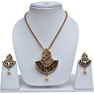 Lucky Jewellery Gold Plated Gold Alloy Pendant With Chain & Earrings For Women