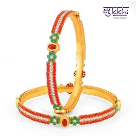Sukkhi Pleasing Gold Plated Set Of 2 Coral Bangle