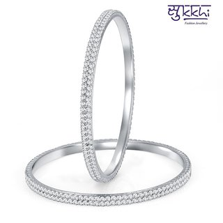 Sukkhi Graceful Rhodium Plated Set Of 2 Australian Diamond Two Line Bangle
