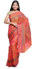 Banarasi Silk Works Pink Art Silk Embroidered Saree With Blouse