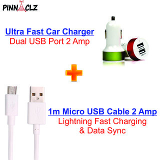 Pinnaclz Combo of Dual USB 2 Amp Car Charger + Micro USB 2 Amp Data Sync Cable (Assorted Colour)