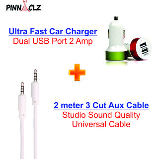Pinnaclz Combo of Dual USB 2 Amp Car Charger + Aux Cable 2 meter (Assorted Colour)