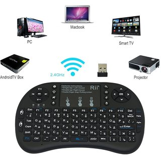 Jaiden i8 Mini Wireless Keyboard and Mouse(Touchpad) Black Bluetooth Keyboard Mouse Combo with Smart FunctionCompatible with Smart TV(2D3D)