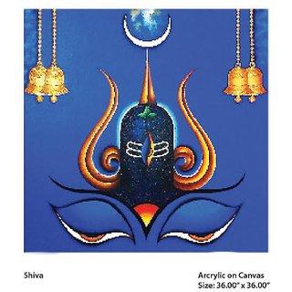 Handmade Lord Shiva Acrylic Canvas Painting In India