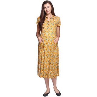 MomToBe Women's Rayon Maternity Dress, Yellow