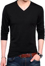 Full Sleeve Men's Black V-Neck T-Shirt