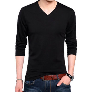 Buy Full Sleeve Men s Black V-Neck T-Shirt Online   ₹299 from ShopClues f623a397c3c0