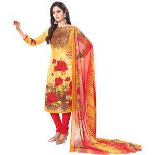 Salwar House Women's Yellow Cotton Printed Unstitch Dress material Salwar Suit with Dupatta (Unstitched)