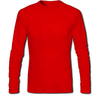 Full Sleeve Men's Red Round Neck T-Shirt