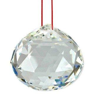 ReBuy Feng Shui Hanging Clear Crystal Ball ( Pre-Energized In Rock Salt ) 50mm