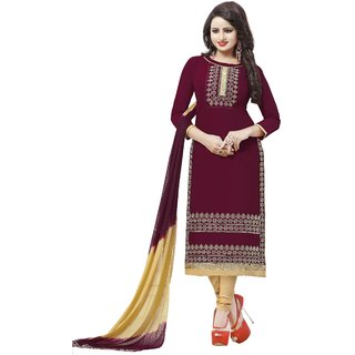 Salwar House Women's Maroon Cotton Embroidered Unstitch Dress material Salwar Suit with Dupatta (Unstitched)
