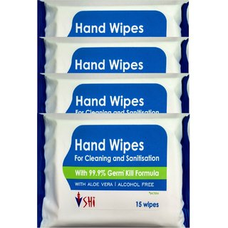 SHI Hand Wipes pack of 60 wipes (15 wipes x 4 packets) (60 Pieces)