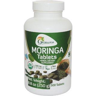 Grenera Organic Moringa Tablet -500 Nos / Bottle  - Certified Organic/ Free shipping