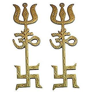 Rebuy Combo Of Swastik Om Trishul Trishakti Yantra Brass Hanging