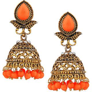 JewelMaze Gold Plated Orange Beads Jhumki Earrings