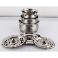 Mahavir 6 Pc Stainless Steel Baby Handi With Lid Matt Finish Cook  Serve Set