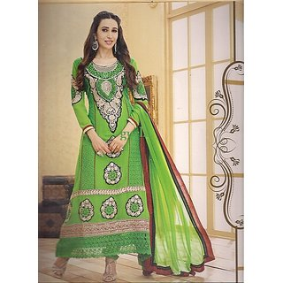 Womens Ethnic Wear Dress Material Green Color Unstitched Suits Set Bollywood New