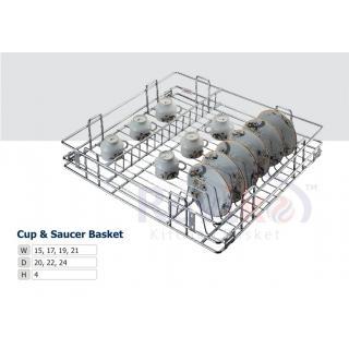 Cup saucer kitchen basket ( 15-16-4 inch ) stainless steel basket