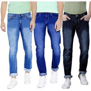 Red Code Men's Pack of 3  Regular Fit Multicolor Jeans