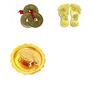Combo of 3 - Feng Shui/Vaastu Combo Tortoise, Laxmi Charan Paduka and Lucky coins set 3 wish-fulfilling money luck succe