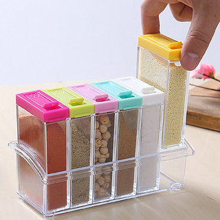 House of Quirk Crystal Seasoning Spice Rack 6 Lid Container set
