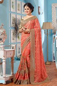 Ravishing Coral Party Wear Net Saree