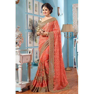 Ravishing Coral Party Wear Net Saree
