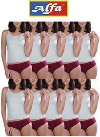 Alfa Ladies Panty Plain - Pack of 10 (Assorted Color)