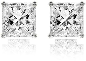 The Jewelbox 316L Surgical Stainless Steel Mens Boys Ear Stud Pair Earring Square Princess Cut American Diamond