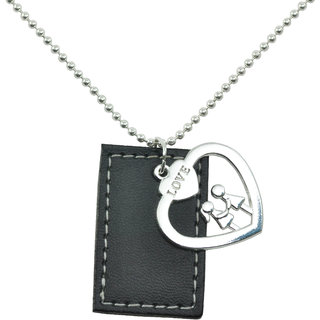ALPHA MAN I Love To Hold Hands With You Leather Tag Steel-Silver Neckpiece