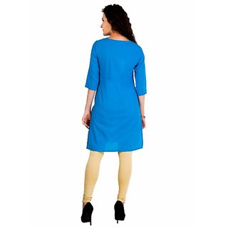 Aurelia Blue Solid Cotton Stitched Kurti