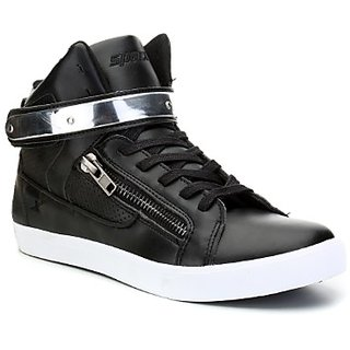 Sparx MenS Black White Lace-Up Sneakers