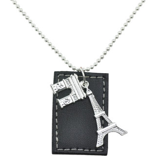 ALPHA MAN Exploring the French Liberation Leather Tag Steel-Silver Neckpiece