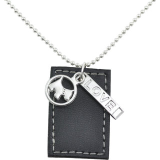 ALPHA MAN I Love My Pet Leather Tag Steel-Silver Neckpiece