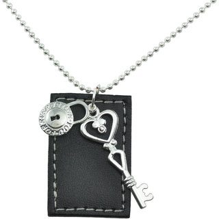 ALPHA MAN PASSWORD - I Love You Forever Leather Tag Steel-Silver Neckpiece
