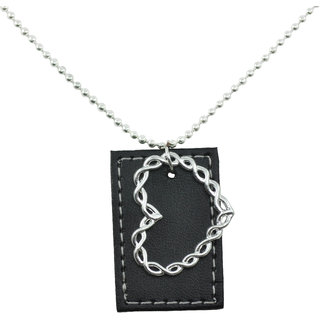ALPHA MAN Heart Bender, Life Sender Leather Tag Steel-Silver Neckpiece