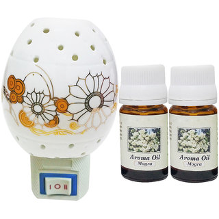 PeepalComm Electric Ceramic Aroma Gold Diffuser with Aroma Oil 10ML (2MOGRA) for office spa hotel home fragrance