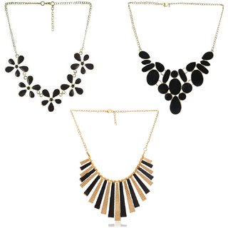 Minha Oxidised Multicolor Alloy Necklace Set For Women (Combo of 3)