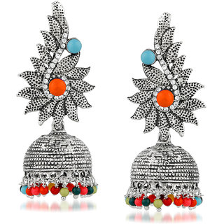 JewelMaze Silver Plated Multi Beads Jhumki Earrings