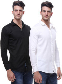 Red Code Men's Black  White Regular Fit Casual Poly-Cotton Shirt Pack Of 2