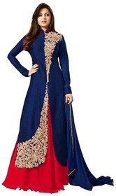 Bhuwal Fashion Navy Bangalore Silk Straight Semi-Stitched Suit