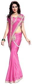 Bhuwal Fashion Pink Lycra Saree