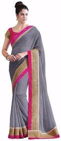 Bhuwal Fashion Grey Chiffon Saree